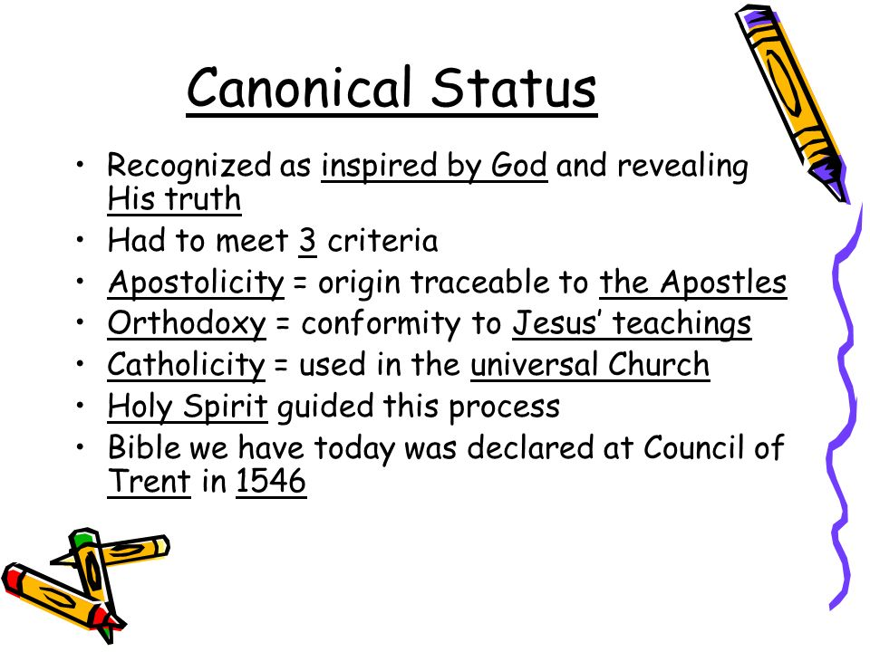 Canonical Status Recognized as inspired by God and revealing His truth