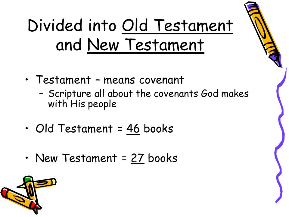 Divided into Old Testament and New Testament