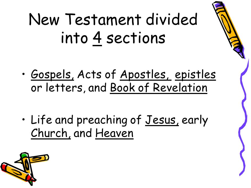 New Testament divided into 4 sections