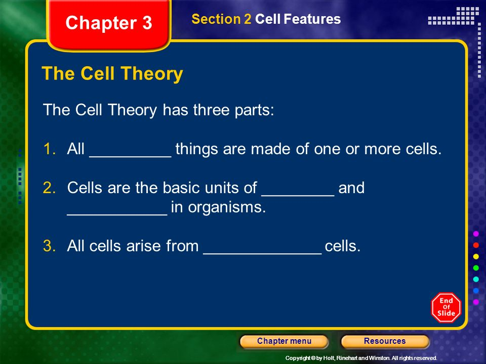 Chapter 3 The Cell Theory The Cell Theory has three parts: