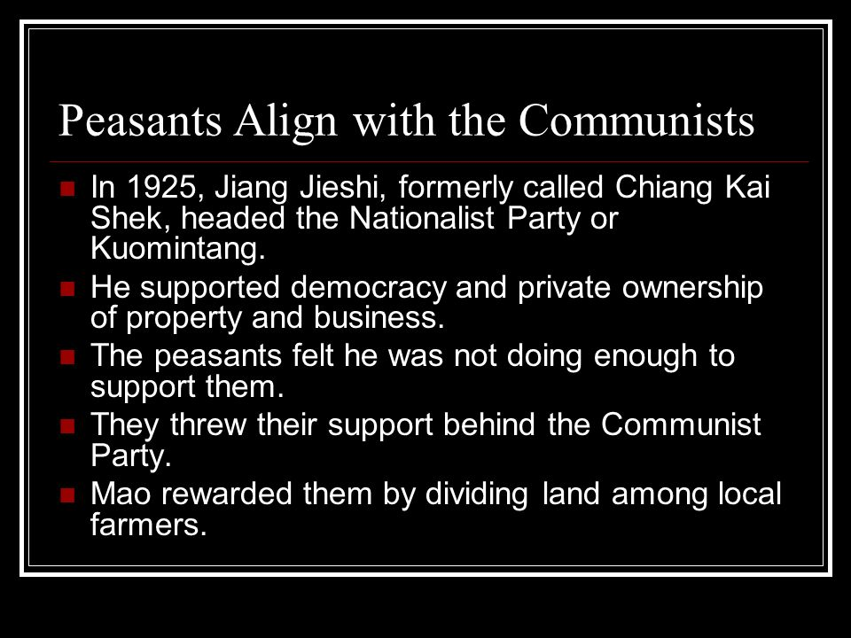 Peasants Align with the Communists