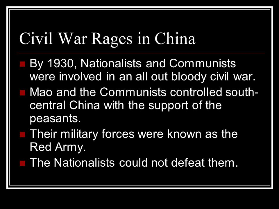 Civil War Rages in China