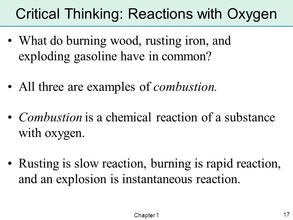 Critical Thinking: Reactions with Oxygen