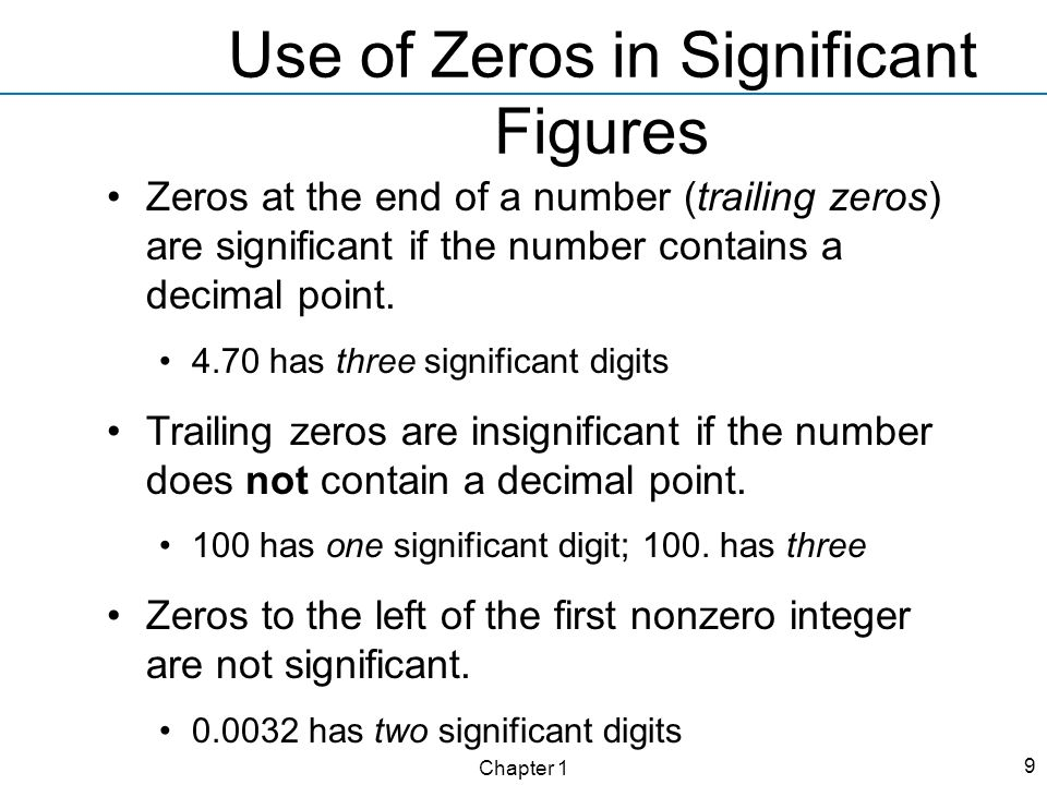 Use of Zeros in Significant Figures