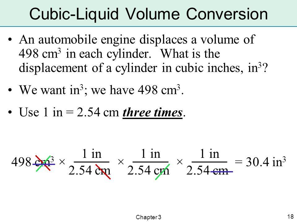 Cubic-Liquid Volume Conversion