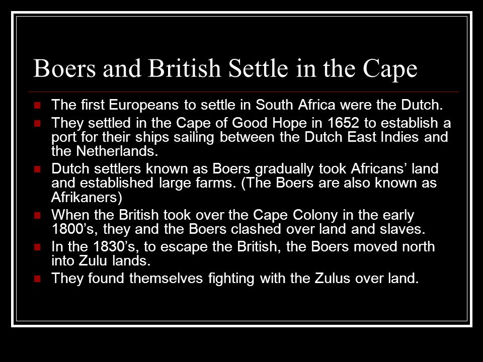 Boers and British Settle in the Cape