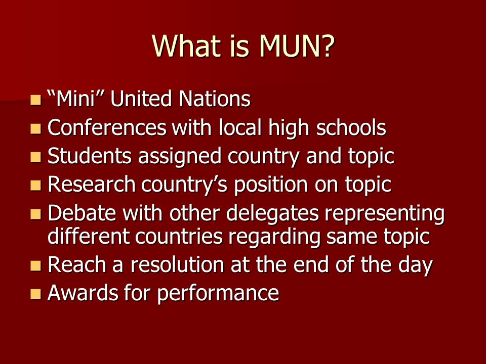 What is MUN Mini United Nations Conferences with local high schools