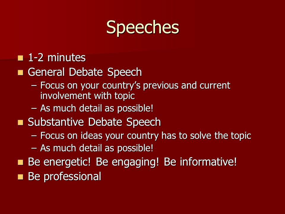 Speeches 1-2 minutes General Debate Speech Substantive Debate Speech