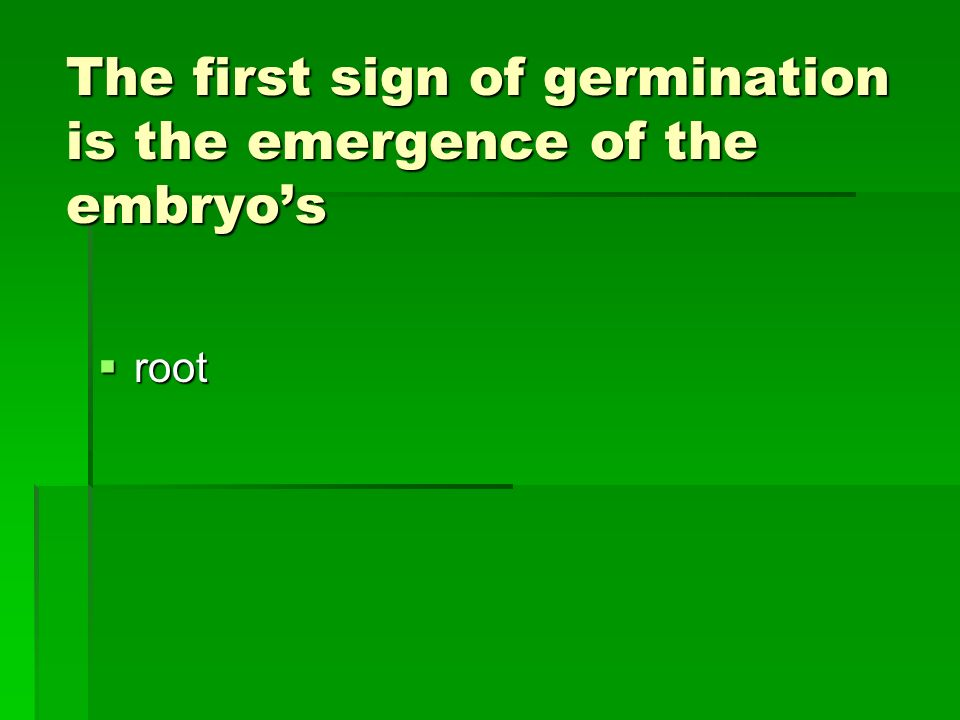 The first sign of germination is the emergence of the embryo's