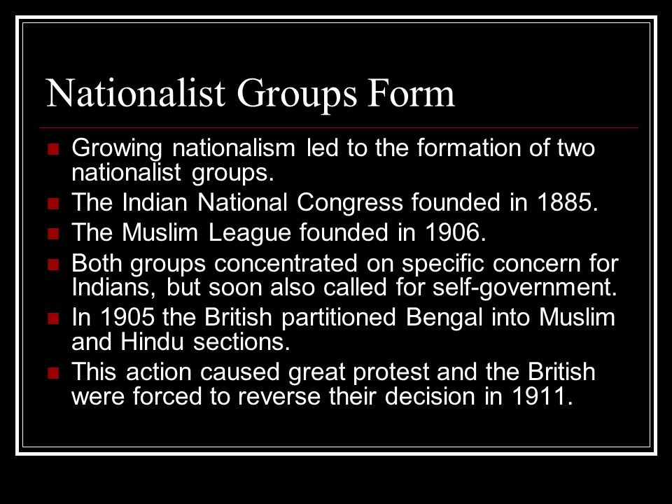 Nationalist Groups Form
