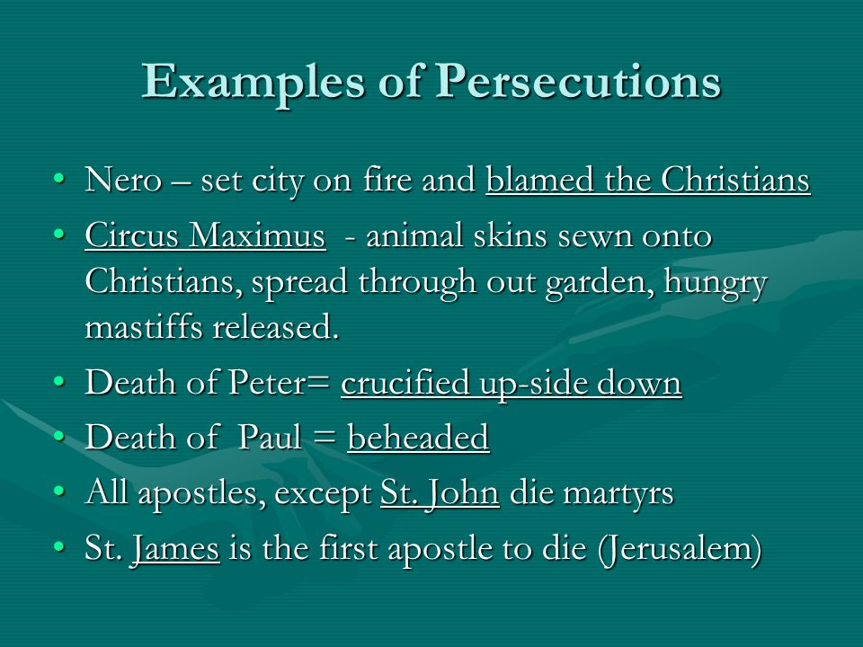 Examples of Persecutions