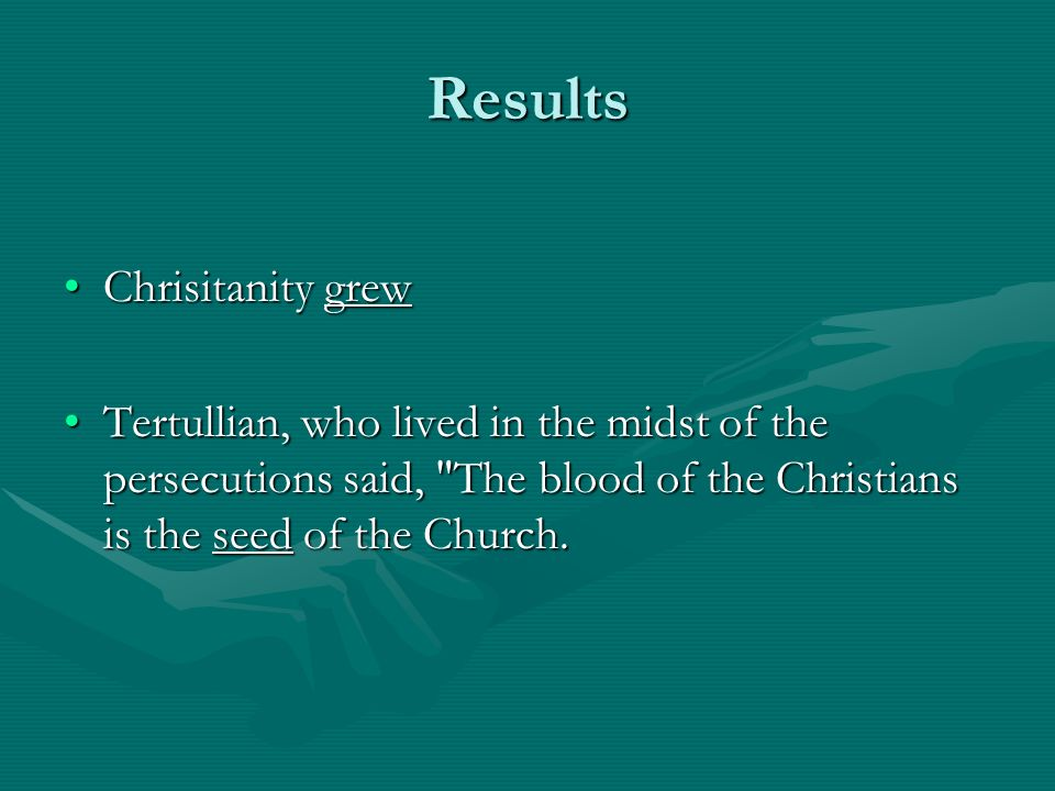 Results Chrisitanity grew
