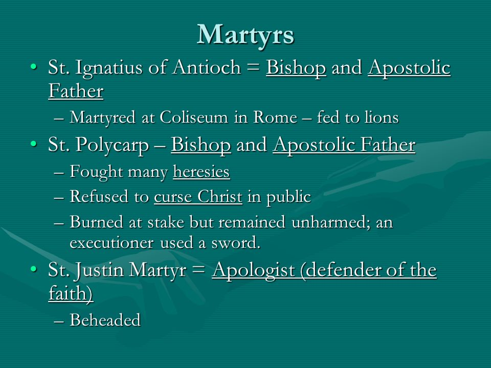 Martyrs St. Ignatius of Antioch = Bishop and Apostolic Father