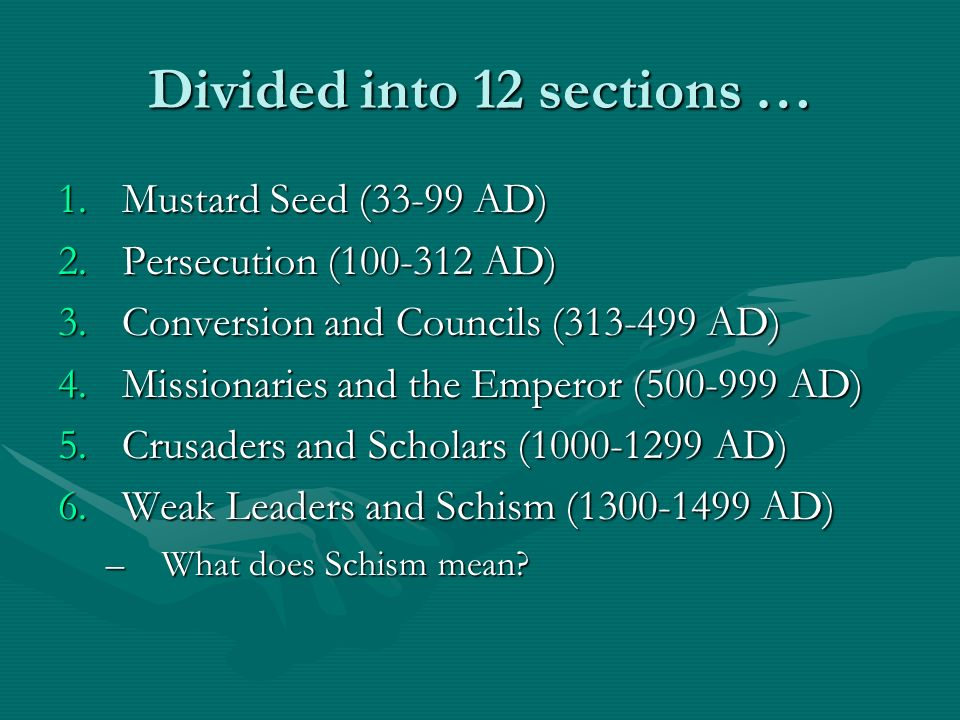 Divided into 12 sections …