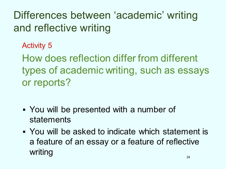 different kinds of reflective essay Reflective essays can focus on personal development, academic connections to the course content, or ideas and recommendations for future action as with any essay, criteria can be clearly stated to guide the work of the students.