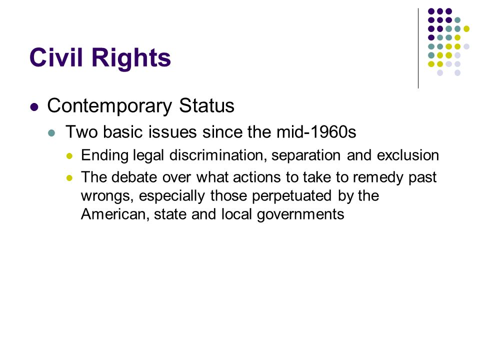 Civil Rights Contemporary Status Two basic issues since the mid-1960s