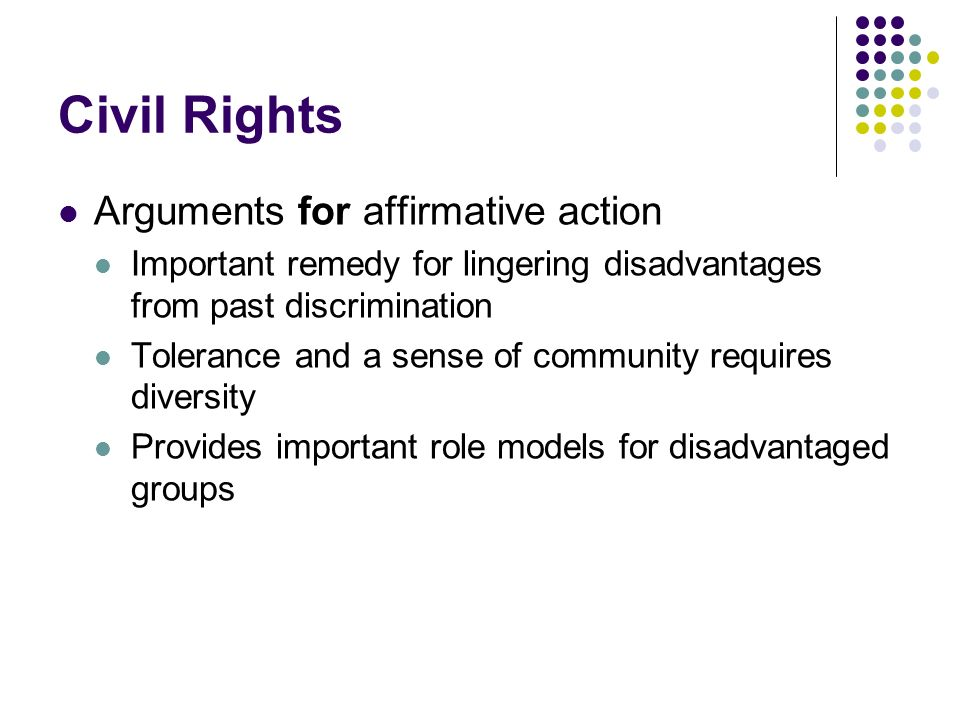 Civil Rights Arguments for affirmative action