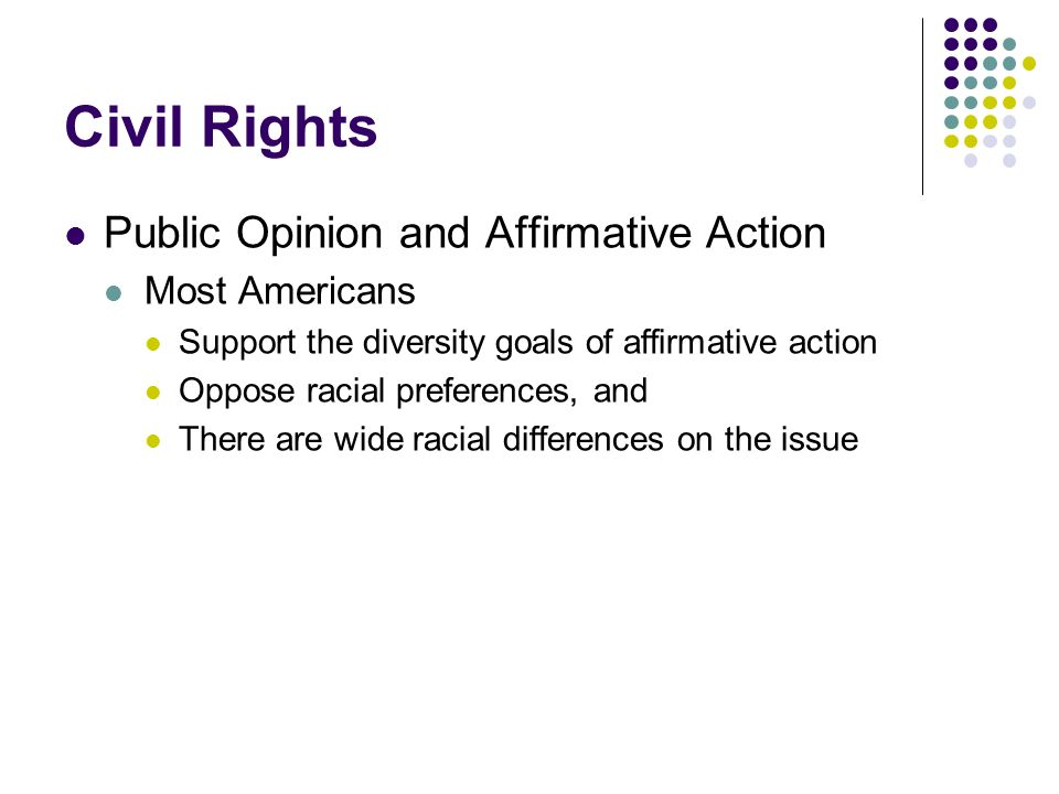 Civil Rights Public Opinion and Affirmative Action Most Americans