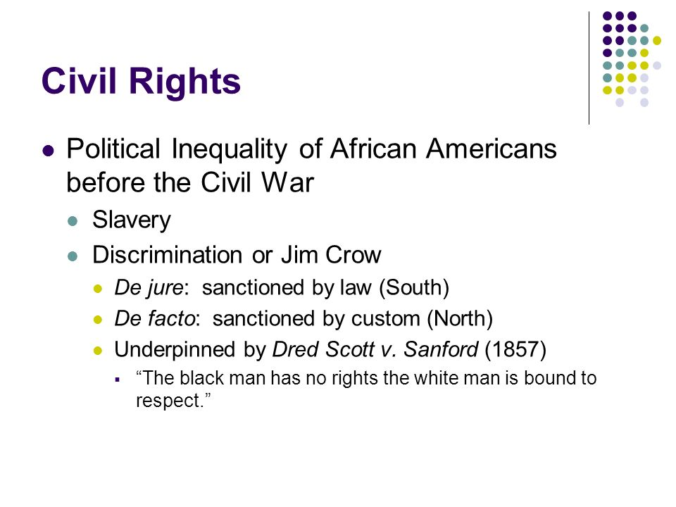 Civil Rights Political Inequality of African Americans before the Civil War. Slavery. Discrimination or Jim Crow.