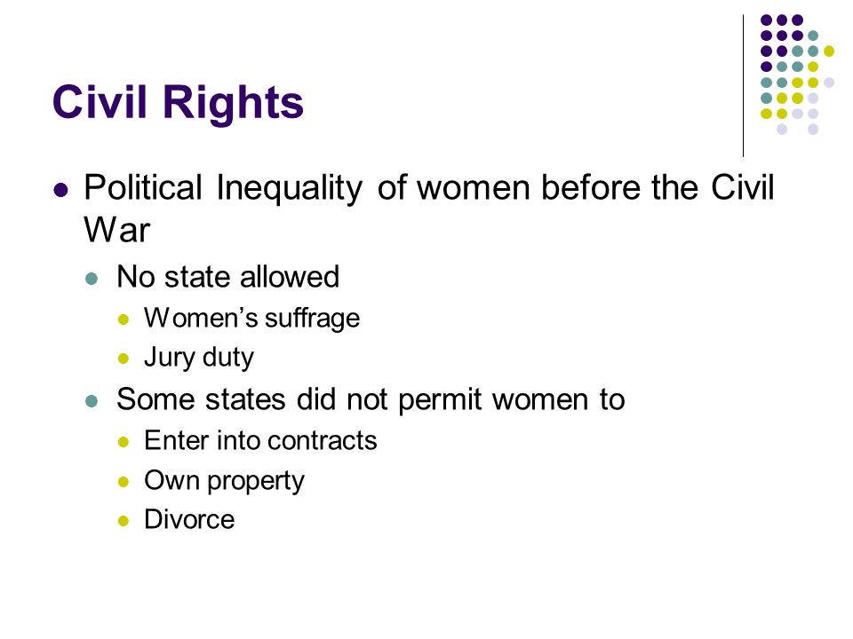 Civil Rights Political Inequality of women before the Civil War
