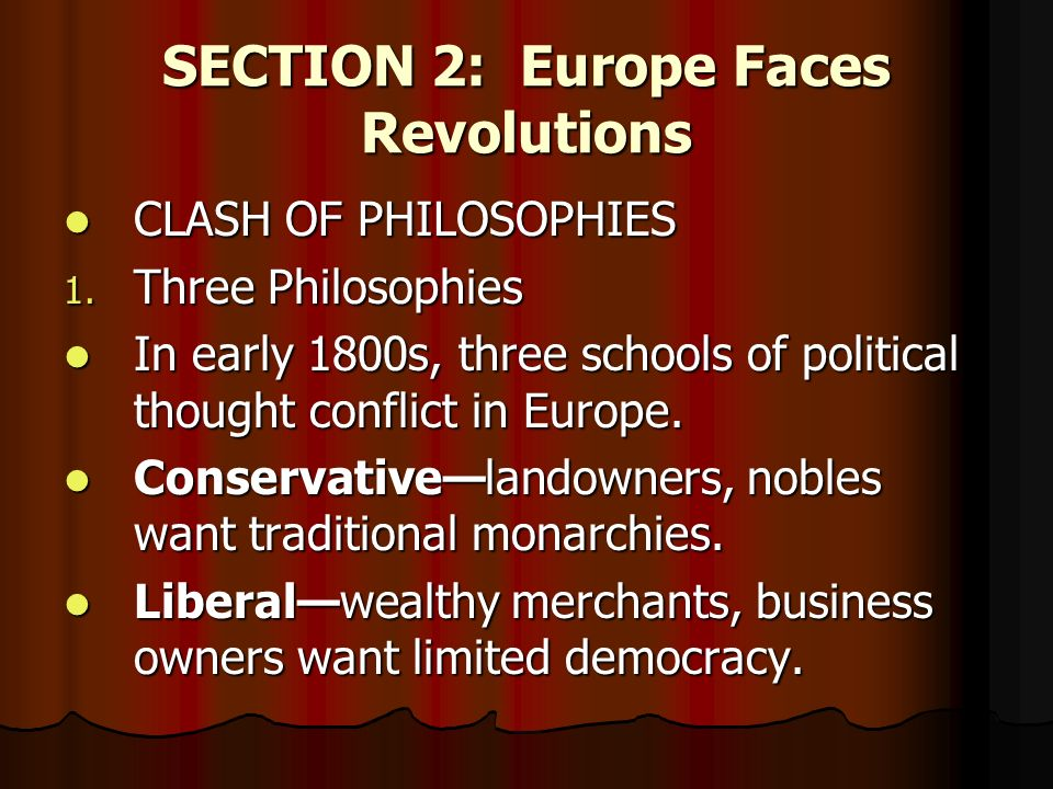 SECTION 2: Europe Faces Revolutions