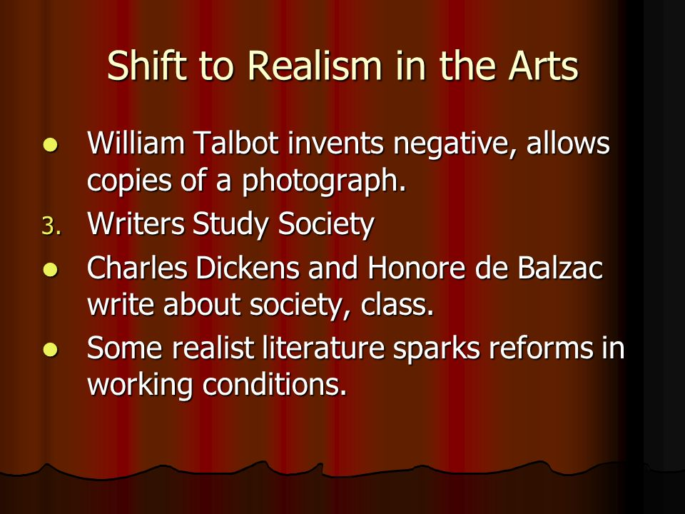 Shift to Realism in the Arts