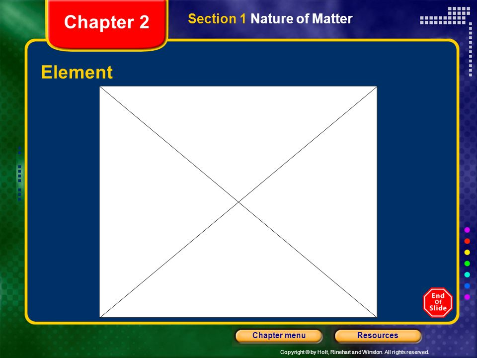 Chapter 2 Section 1 Nature of Matter Element