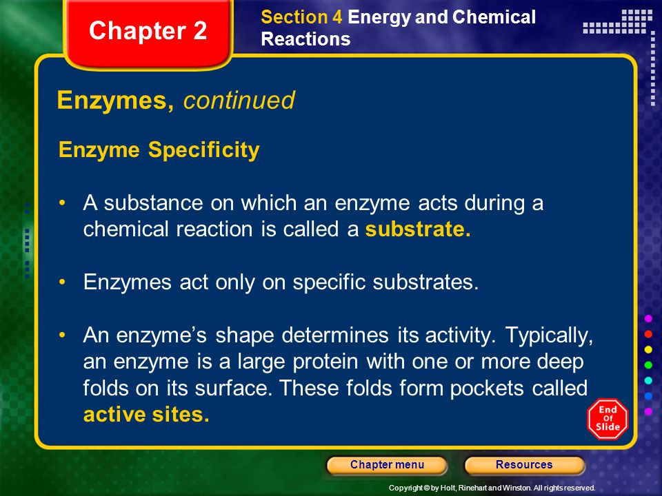 Chapter 2 Enzymes, continued Enzyme Specificity