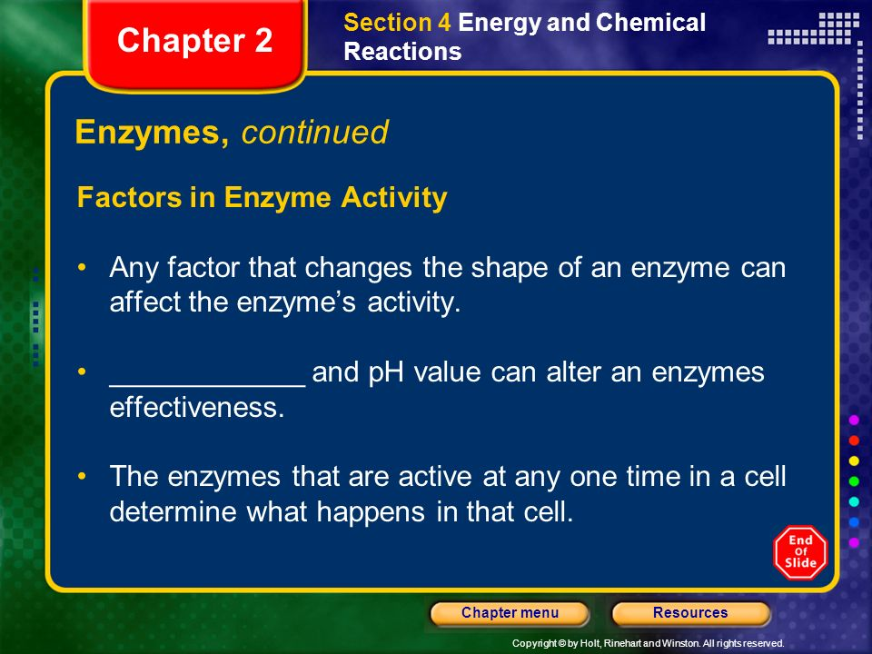 Chapter 2 Enzymes, continued Factors in Enzyme Activity