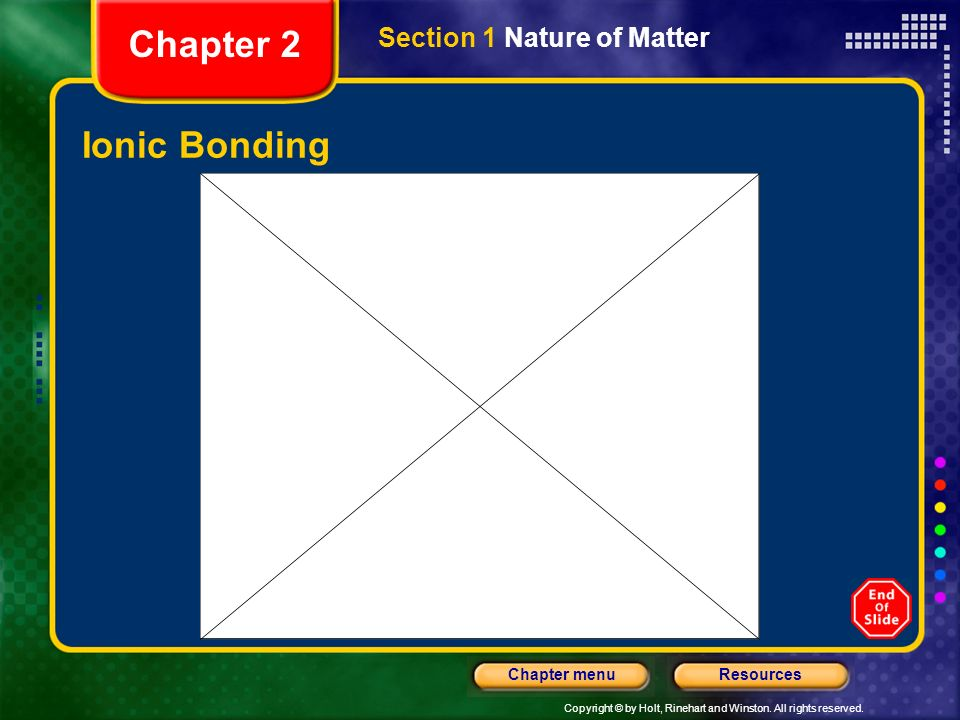 Chapter 2 Section 1 Nature of Matter Ionic Bonding