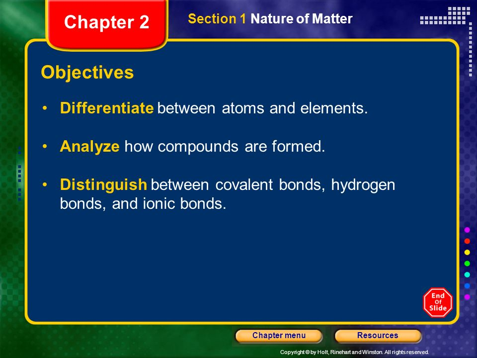 Chapter 2 Objectives Differentiate between atoms and elements.