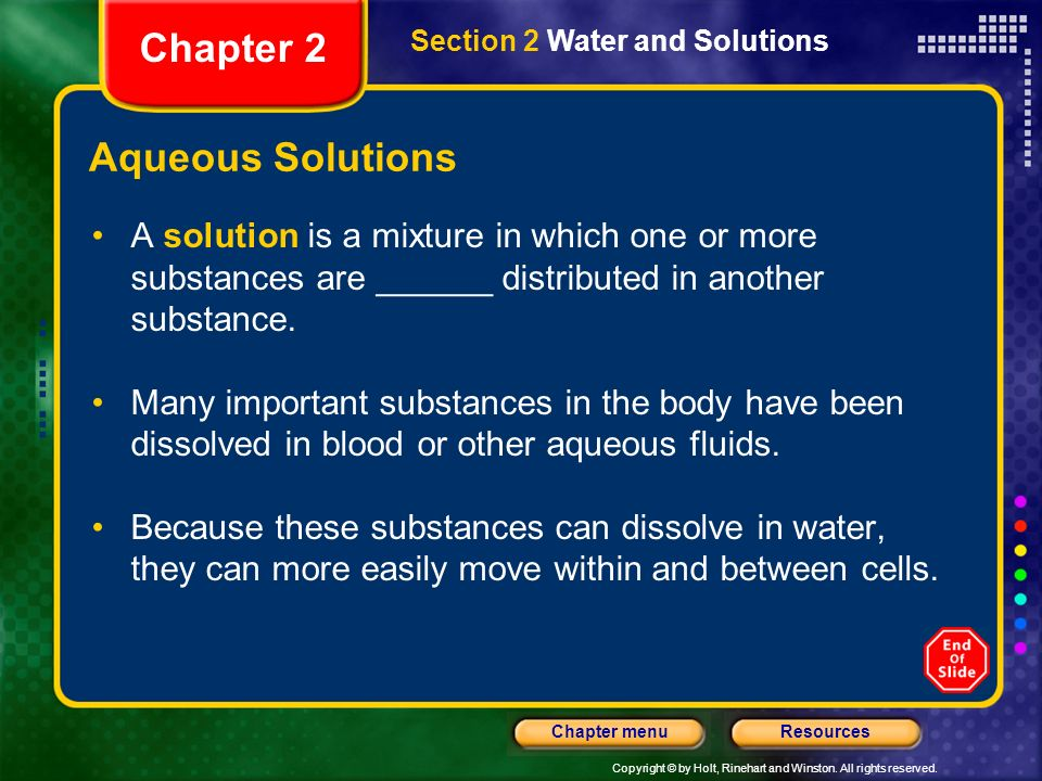 Chapter 2 Aqueous Solutions