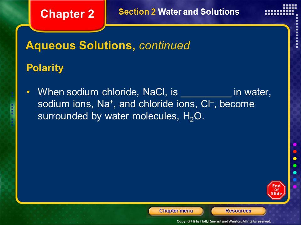 Aqueous Solutions, continued