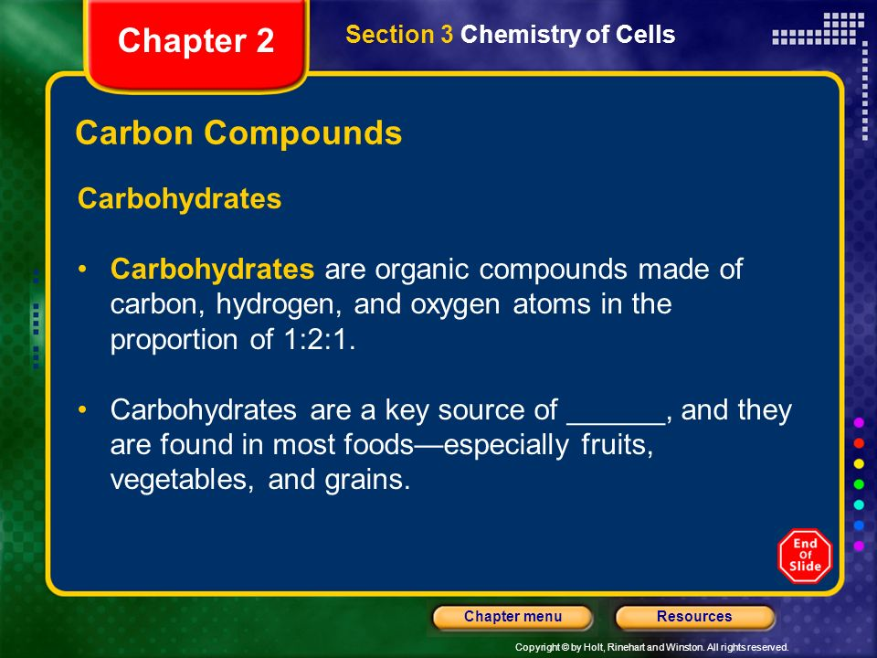 Chapter 2 Carbon Compounds Carbohydrates