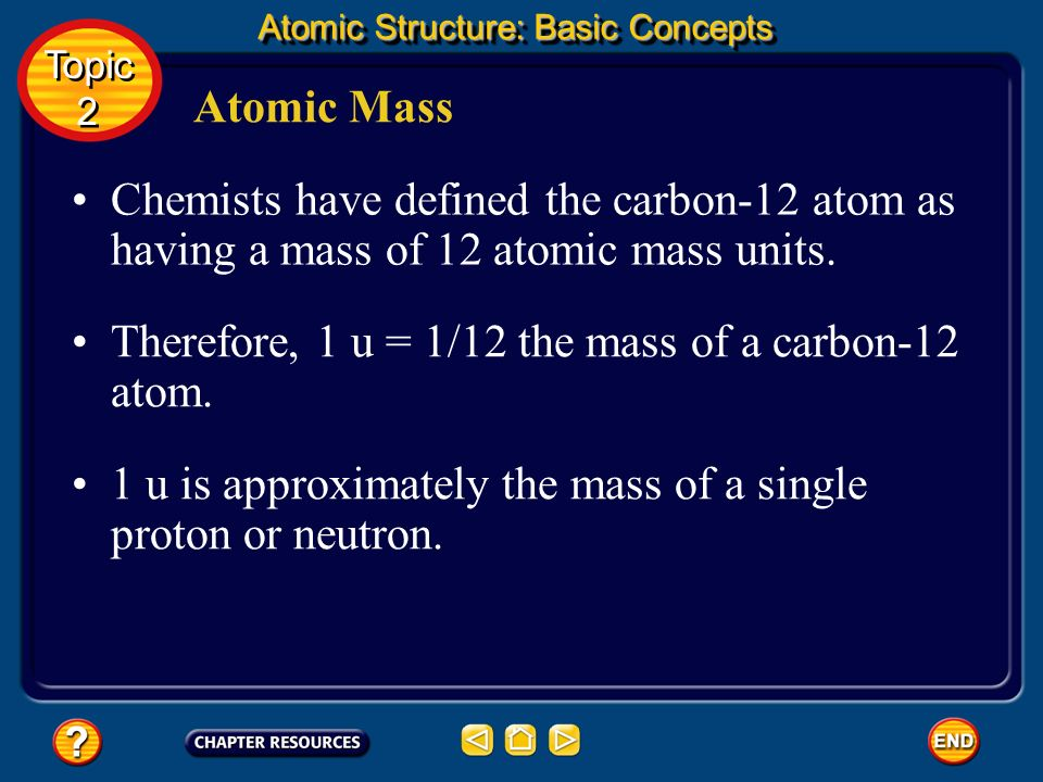 Therefore, 1 u = 1/12 the mass of a carbon-12 atom.