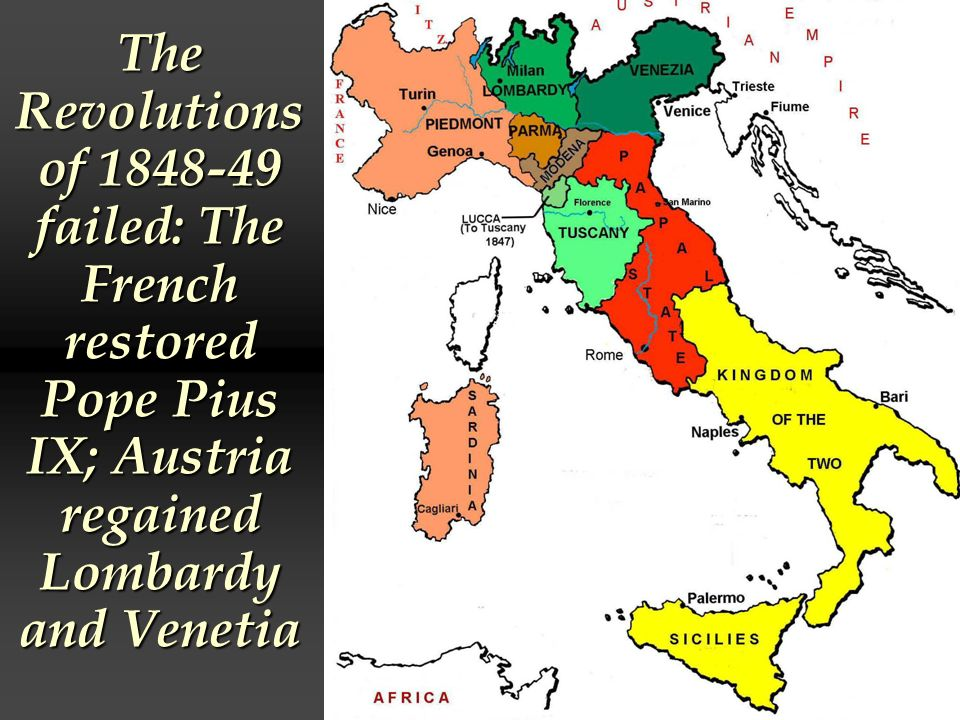 The Revolutions of failed: The French restored Pope Pius IX; Austria regained Lombardy and Venetia