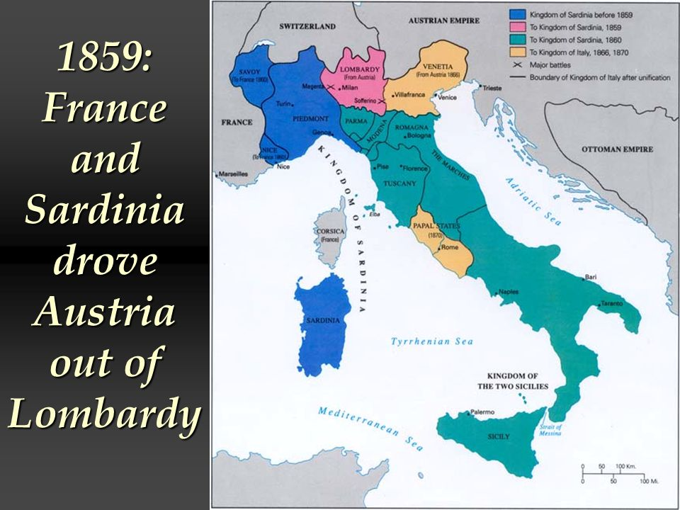 1859: France and Sardinia drove Austria out of Lombardy