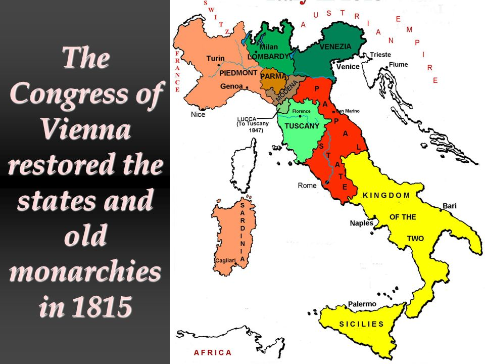 The Congress of Vienna restored the states and old monarchies in 1815