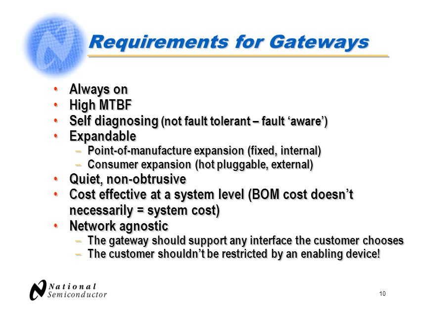 Requirements for Gateways