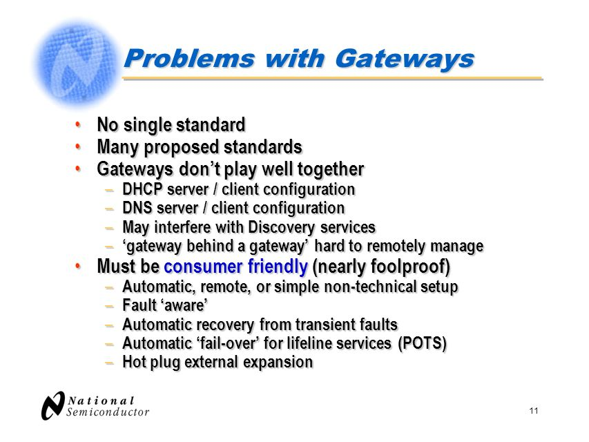 Problems with Gateways