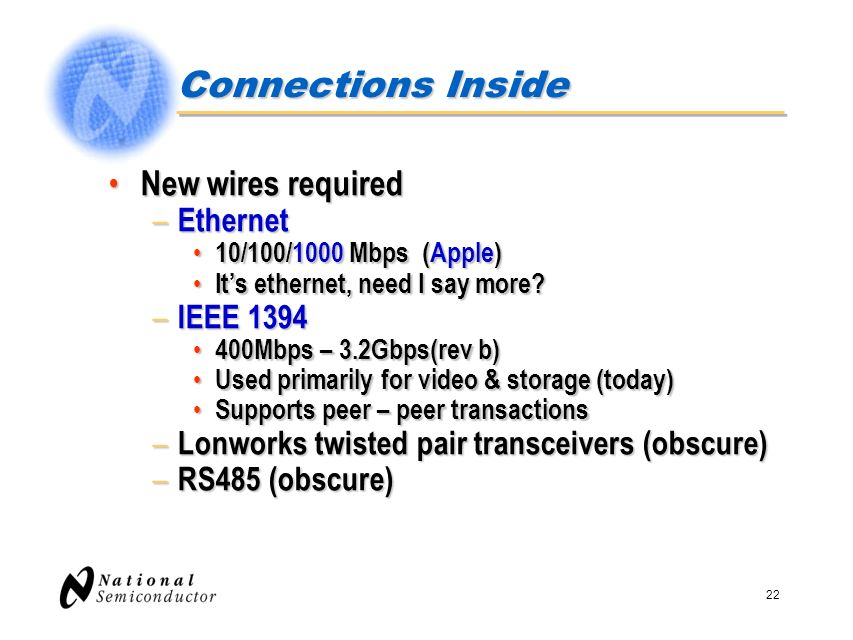 Connections Inside New wires required Ethernet IEEE 1394