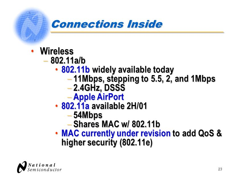 Connections Inside Wireless 802.11a/b 802.11b widely available today
