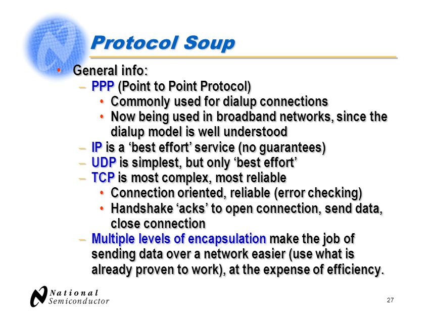 Protocol Soup General info: PPP (Point to Point Protocol)