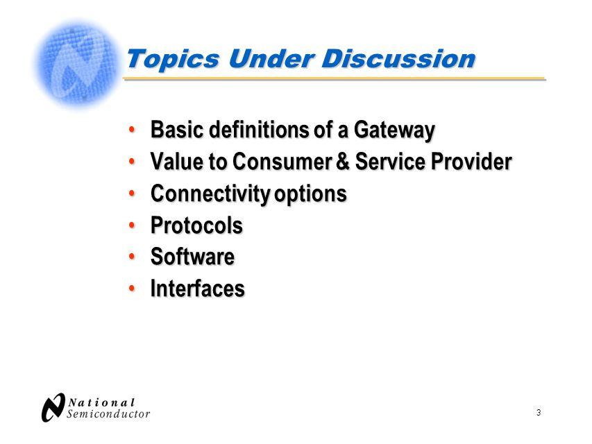 Topics Under Discussion