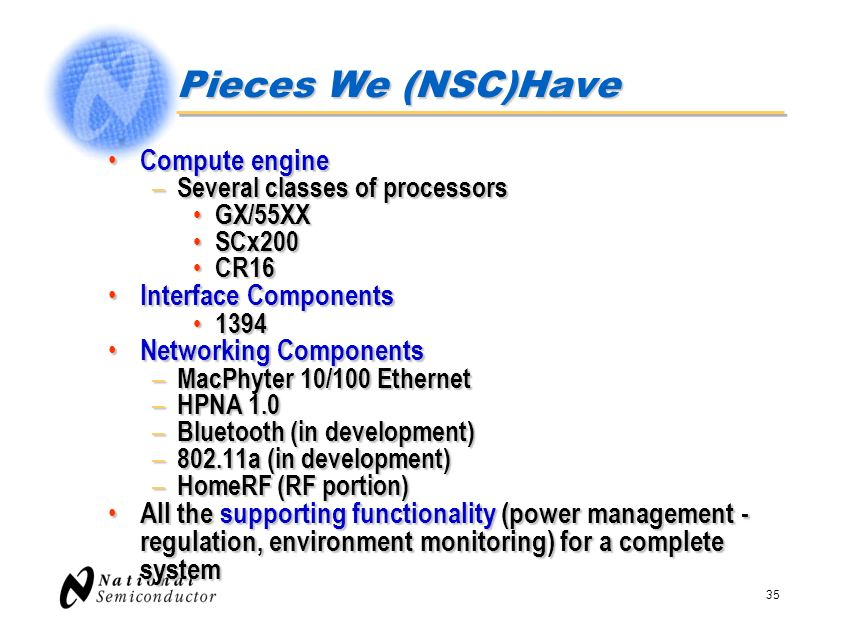 Pieces We (NSC)Have Compute engine Interface Components