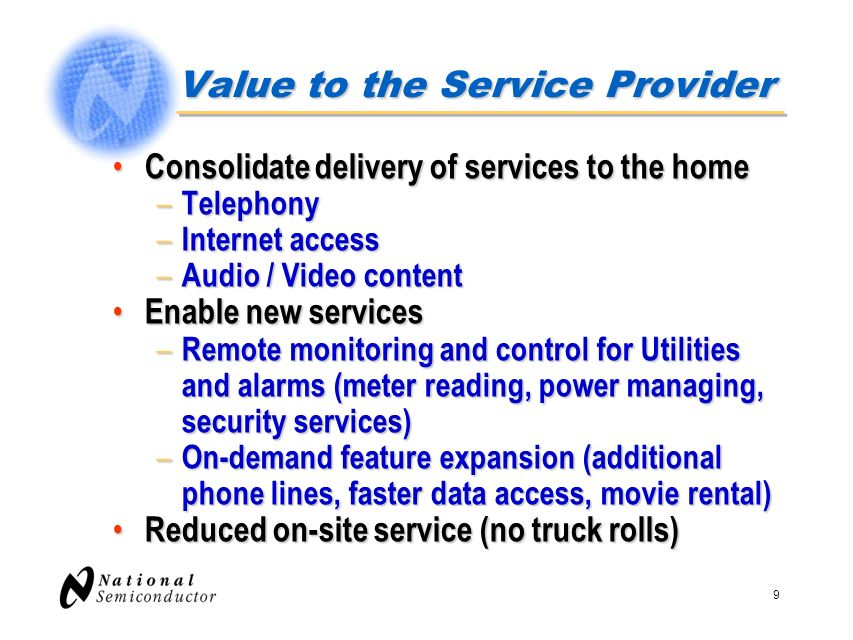 Value to the Service Provider