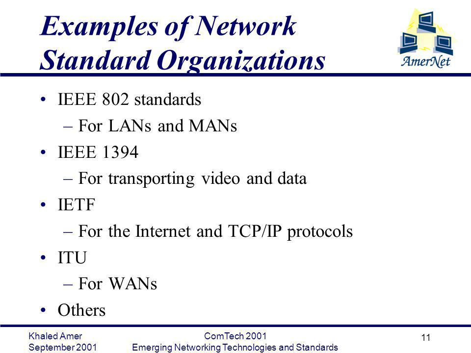 Examples of Network Standard Organizations
