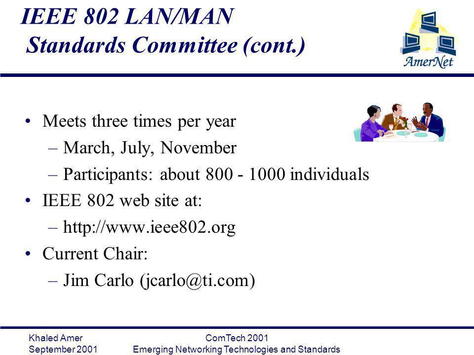 IEEE 802 LAN/MAN Standards Committee (cont.)