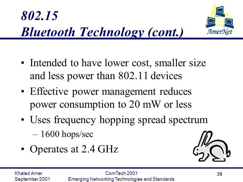 802.15 Bluetooth Technology (cont.)