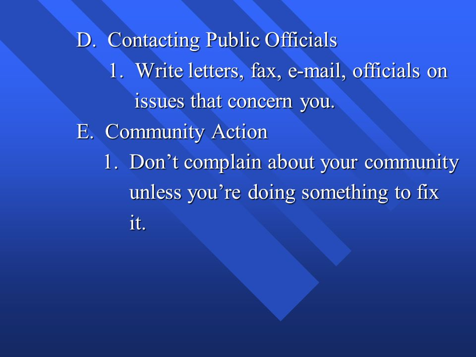 D. Contacting Public Officials